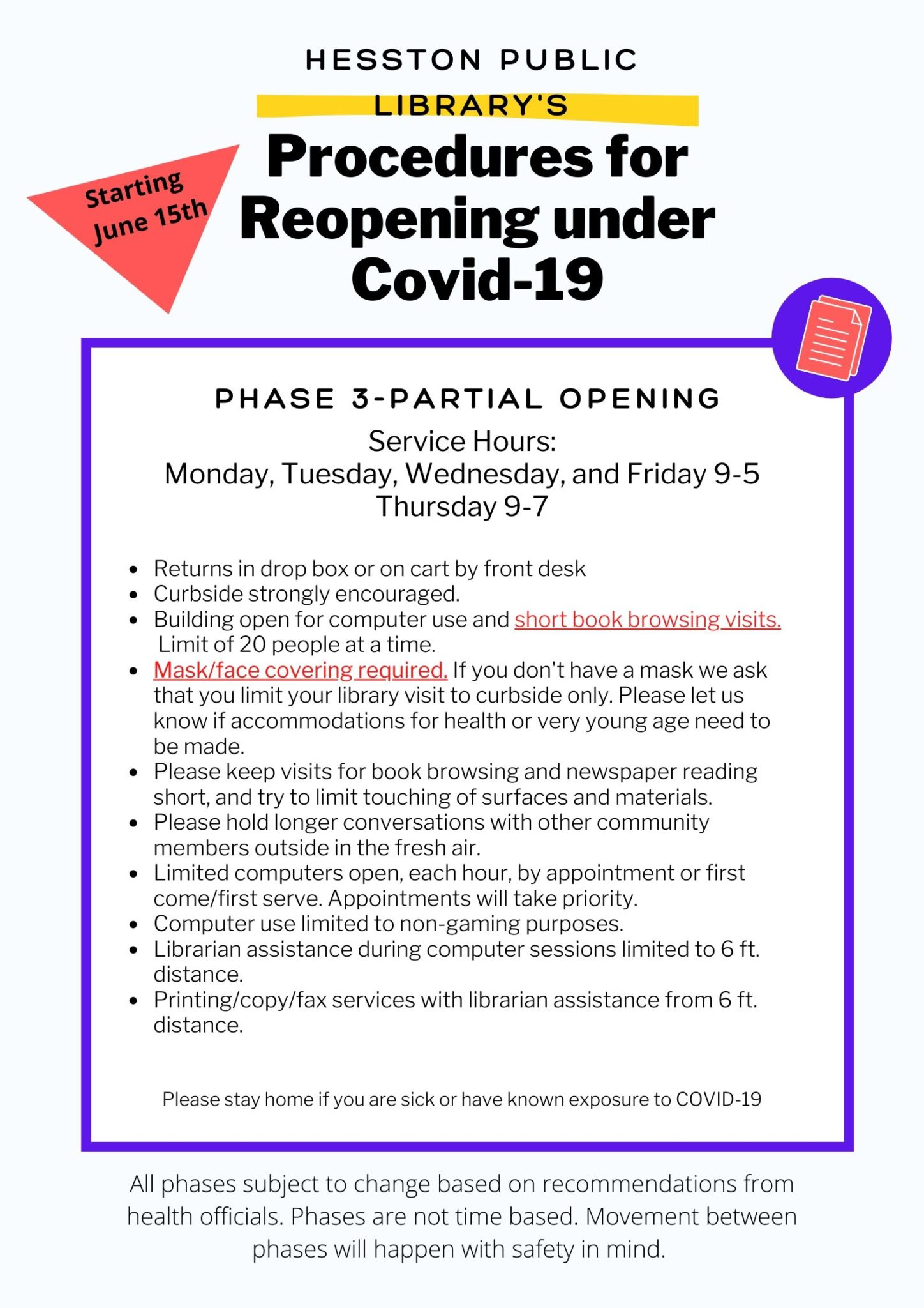 Reopening under Covid-19